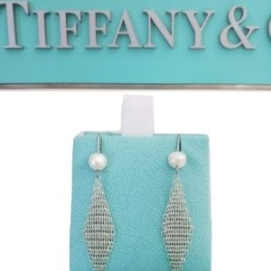 Tiffany &C Elsa Pertti Mesh  Perl Drop Earrings